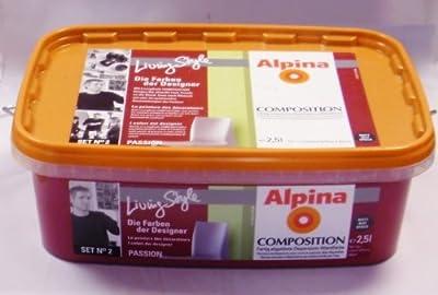 alpina farbe composition passion matt rot himbeere 2 5 liter von alpina bei tapetenshop. Black Bedroom Furniture Sets. Home Design Ideas