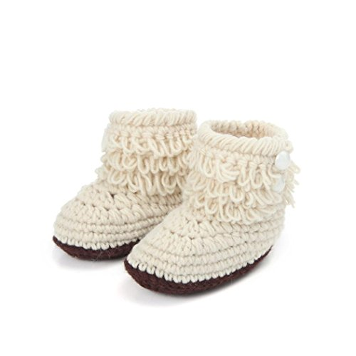 [Iuhan® New Baby Girls Crochet Handmade Knit High-top Tall Boots Shoes (Beige)] (Baby Designer Clothes)