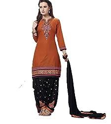 Vivacity Women's Cotton Unstitched Dress Material (Singles-2_Rust_Free Size)