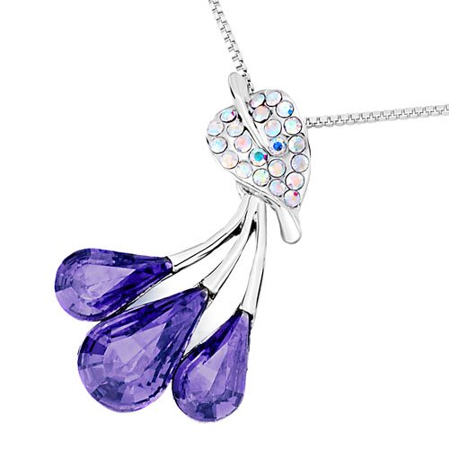 Christmas Gifts Pugster Leaf Crystal Aurore Boreale Dangle Tanzanite Swarovski Crystal Drop Pendant Necklace
