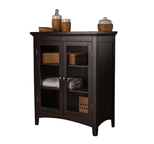Storage Cabinets - This Floor Cabinet Will Bring Beauty As A Bathroom Storage Cabinet , Linen Cabinet or A General Purpose Hallway Cabinet with its Double Glass Door Style (Linen Cabinet Glass compare prices)