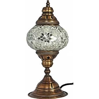 Table Lamp Mosaic Lamps White Glass Moroccan Lanterns