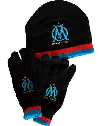 Gants + Bonnet - Collection officielle - OLYMPIQUE DE MARSEILLE - OM - Football club Ligue 1 - Taille adulte et ado