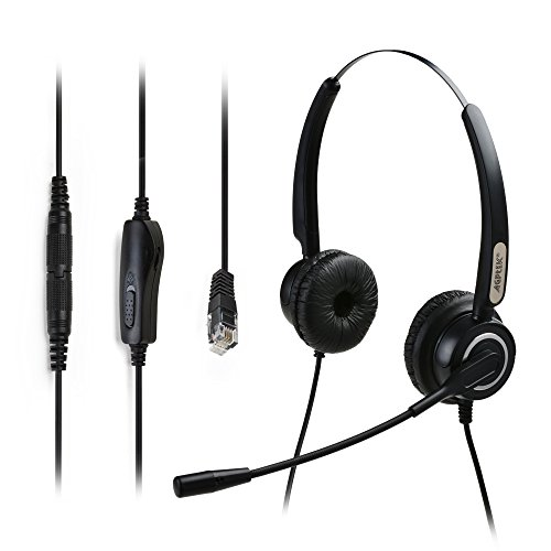 4-Pin RJ9 Binaural Headset, AGPtek Hands-free Call Center Headphone for Desk Phones with Noise Canceling Mic + 3.5MM QD + Volume Mute (Rj9 Call Center Headset compare prices)