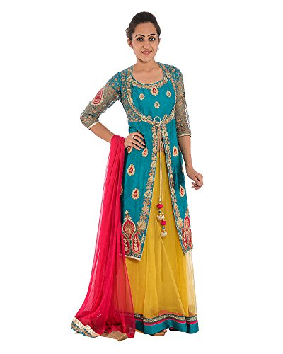 SAANVI Women's Raw Silk And Net Lehenga (Green)(X-Large)