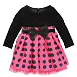 Youngland Infant & Toddler Girls Pink & Black Dots Party Dress Holiday Tulle