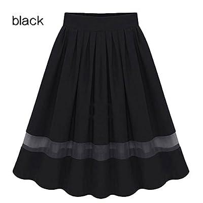PinRoad Women's Openwork Mesh Splice Chiffon Pleated Half-Length Maxi Skirt