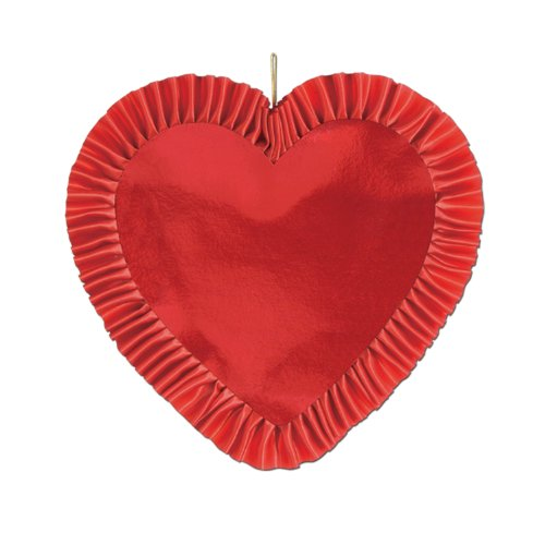 Beistle 77076-R Red Heart with Satin Ribbon, 13-Inch, 1 Per Package