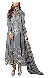 Arya Dress Maker Women's Georgette Unstitched Dress Material (Grey)