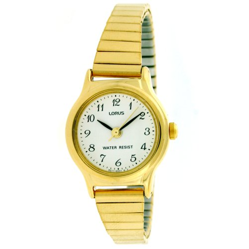 Lorus Ladies Stretch Band Gold Tone Watch Easy to Read Dial