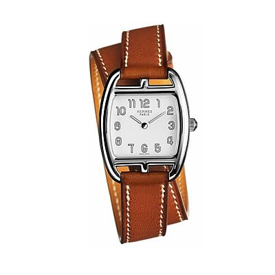 Hermes Cape Cod Tonneau PM Small Ladies Quartz Watch with Double Wrap Strap - 034318WW00
