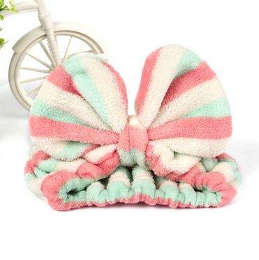 大人気 洗顔用 可愛い もこもこ ヘアバンド 高品質 ピンク水色ホワイトストライプ