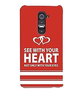 printtech Heart Back Case Cover for LG G2::LG G2 D800 D980