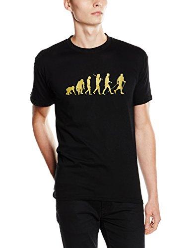 'Shirtzshop-Maglietta Gold Edition Nordic Walking camminate Gehen escursioni, Unisex, T-Shirt Gold Edition Nordic Walking Laufen Gehen Wandern, nero, XXL