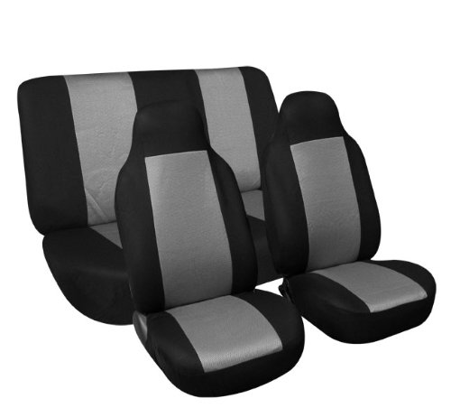 Fh-Fb102112 Classic Cloth Car Seat Covers Gray / Black Color front-973009