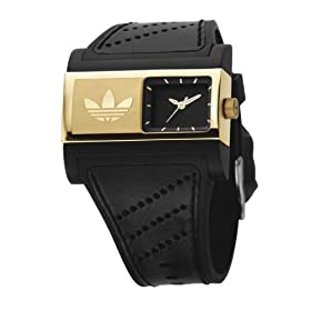  Adidas ADH1723 Black Dial Gold Plated Black Leather Strap Watch 