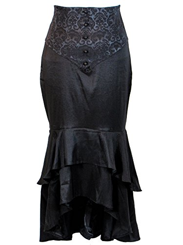 Plus-Size-Black-Gothic-Jacquard-Under-Bust-Bodice-Corset-Fishtail-Long-Skirt