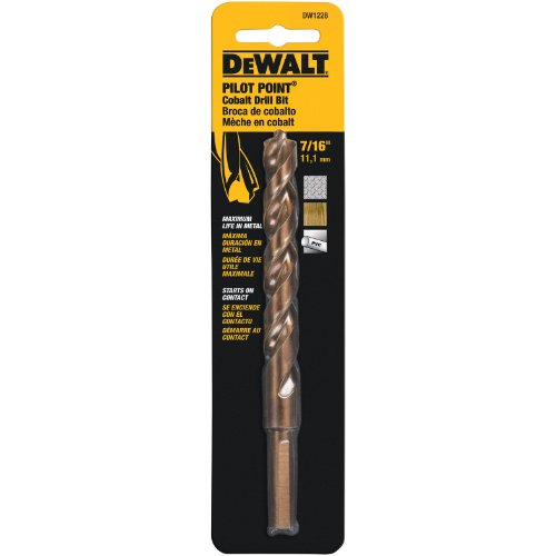 DEWALT DW1228 7/16-Inch Cobalt 3/8-Inch Reduced Shank Split Point Twist Drill Bit