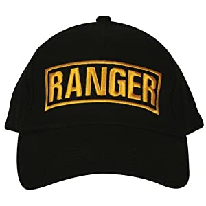 Black Army Ranger Embroidered Ball Cap - Adjustable Hat