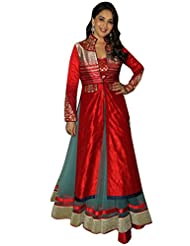 Rama Krishna Brasso, Silk Embroidered Dress In Red, Grey