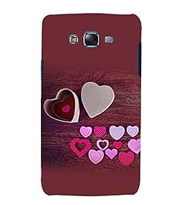 printtech Love Heart Wooden Pattern Back Case Cover for Samsung Galaxy E7 / Samsung Galaxy E7 E700F