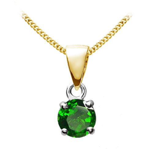 Stunning 9 ct Gold Ladies Solitaire Pendant + Chain with Chrome Diopside 0.30 Carat - 9mm*4mm