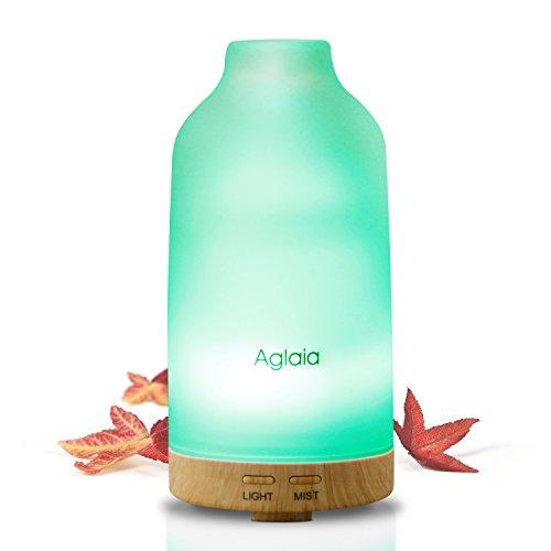 Aglaia アロマディフューザー 超音波式 加湿器 低騒音 空焚き防止 自動停止機能 7色変換LED付き ムードランプ ガラスカバー 100ml 木目調 BE-A4 ホワイト
