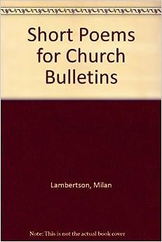 short poems for church bulletins: milan lambertson: amazon