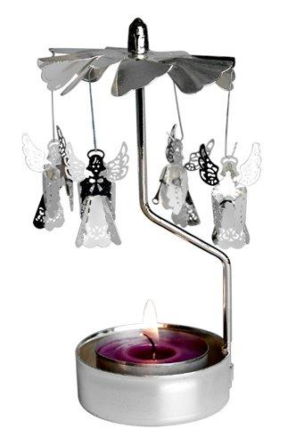 Spinning Silver Angels T-light Holder