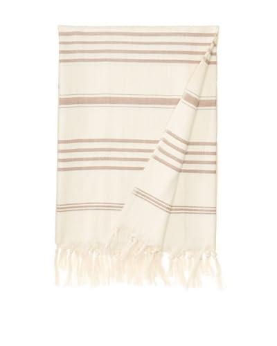 Nomadic Thread Society Turkish Hammam Throw/Towel, Natural/Chocolate Brown