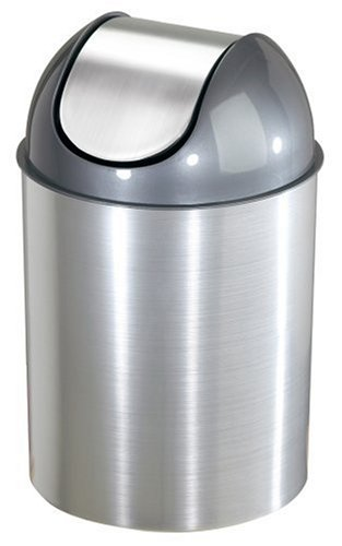 Umbra Mezzo 2.5-Gallon Swing-Top Waste Can, Nickel (Nickel Trash Can compare prices)
