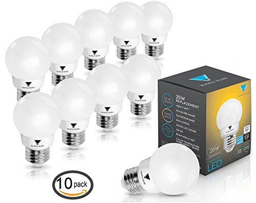 Triangle Bulbs T90020 (Pack of 10) G16 Decorative Globe Light Bulbs 300 Lumen 5-watt LED Light Bulb with E26 Base, Color 3000K, Dimmable, UL Listed, Energy star certified, (Led Globe Lights Small Base compare prices)