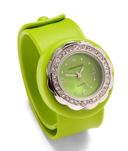 Addison Ross Unisex Quartz Watch with Green Dial Analogue Display and Green Silicone Strap WA0151