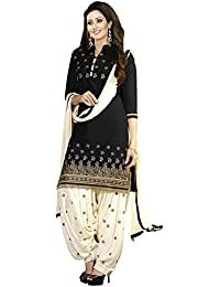 Clickedia Women's Poly Cotton Printed Dress Material- Black And Off-white Salwar Suit Dupatta