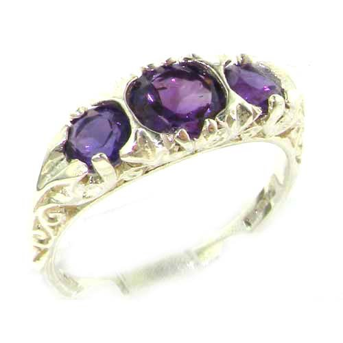 Luxury Ladies Solid Sterling Silver Natural Amethyst Victorian Trilogy Ring - Size 12 - Finger Sizes 5 to 12 Available - Suitable as an Anniversary ring, Engagement ring, Eternity ring, or Promise ring