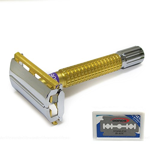 WEISHI-9306d-Alluvial-Gold-Twist-to-Open-Double-Edge-Safety-Razor-with-11-Blades