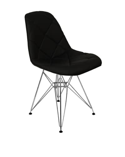 Stilnovo Mid Century-Style Padded Dining Chair with Chrome Legs