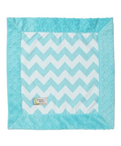 Baby Luxe Lovey/Security Blanket - Aqua & White Chevron On Aqua Minky
