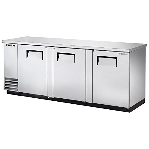 "True TBB-4-S Back Bar Cooler 90"" 3 Section 3 Solid Doors"