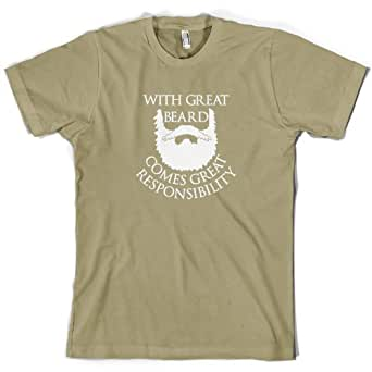 With Great Beard Comes Great Responsibility - Mens T-Shirt-Khaki-Small