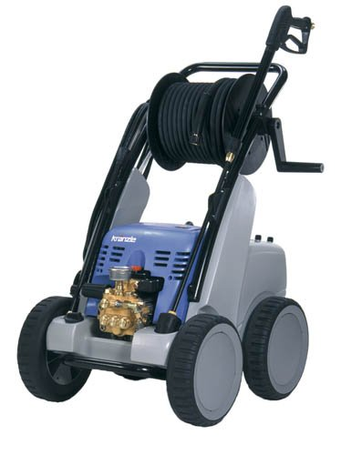 Kranzleusa K1200 Tst Cold Water Electric Industrial Pressure Washer With Auto On-Off And 65' Wire Braided Hose On Hose Reel, 2400 Psi, 5.0 Gpm, 220V, 25A, Three Phase