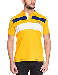 Zovi Men's Cotton Yellow Polo T-shirt With Blue And White Stripes (11875005501)