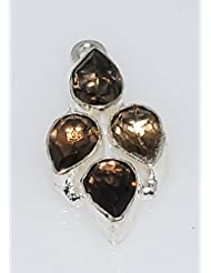 925silvercharm Faceted Brown Smoky Quartz 925 Sterling Silver Plated Links/Connector