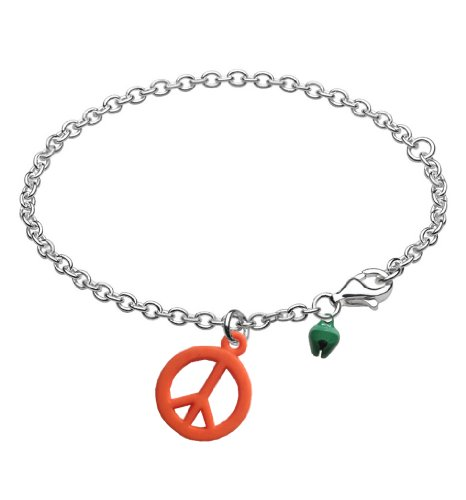 Kids Friendship Peace Bracelet Anklet with Bell Orange