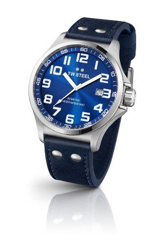 TW Steel - TW-400 - Montre Femme - Quartz Analogique - Bracelet Cuir Bleu
