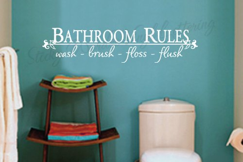 Bathroom Rules vinyl wall lettering words sticky art home decor quotes stickers decals