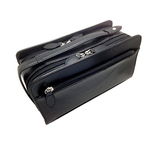 [フィレンツェ] FIRENZE 本馬革 ダブルファスナー式 セカンドバッグ 072147 黒x黒