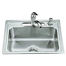 KOHLER K-3348-4-NA Toccata Single-Basin Self-Rimming Kitchen Sink