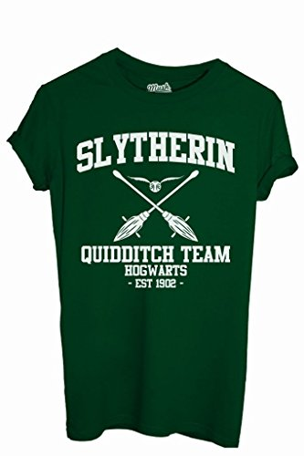 T-Shirt SLYTHERIN QUIDDITCH HARRY POTTER - FILM by iMage Dress Your Style - Uomo-S-VERDE BOTTIGLIA