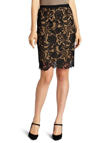 Karen Kane Women's Scallop Lace Pencil Skirt, Black/Camel, X-Large Image